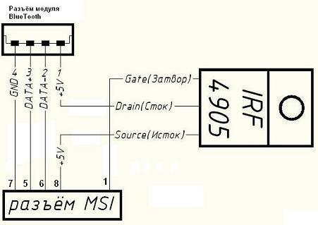 и транзистор IRF4905.